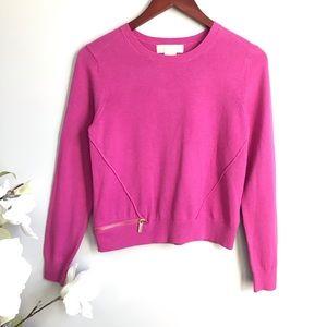 Michael Kors pink zip hem crew neck sweater